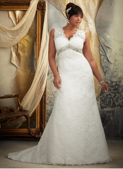 A-Line/Princess V-neck Sweep Train Lace Wedding Dress With Beading