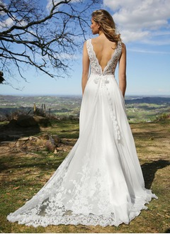 A-Line/Princess V-neck Court Train Chiffon Wedding Dress With Lace Bow(s)