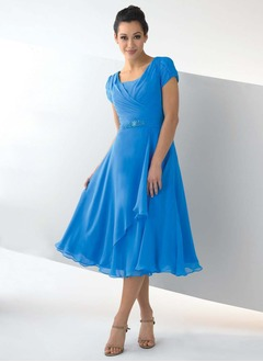 A-Line/Princess Scoop Neck Tea-Length Chiffon Evening Dress With Ruffle Beading