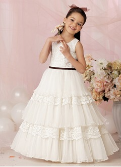 A-Line/Princess Scoop Neck Floor-Length Organza Satin Flower Girl Dress With Lace Sash Cascading Ruffles