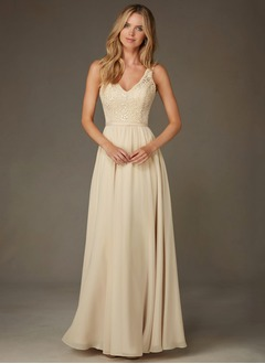 A-Line/Princess V-neck Floor-Length Chiffon Lace Bridesmaid  ...