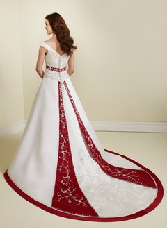 A-Line/Princess V-neck Chapel Train Satin Wedding Dress With Sash Beading Sequins