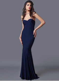 Trumpet/Mermaid Strapless Sweetheart Sweep Train Jersey Evening Dress With Pleated