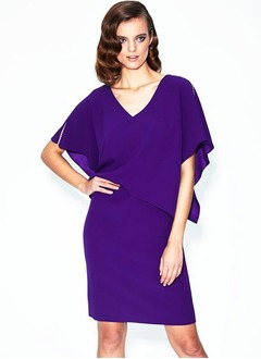 Sheath/Column V-neck Tea-Length Charmeuse Mother of the Bride Dress With Beading
