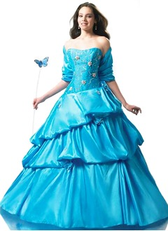 Ball-Gown Strapless Sweetheart Floor-Length Taffeta Quinceanera Dress With Lace Beading Flower(s)