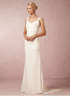 Sheath/Column V-neck Sweep Train Chiffon Wedding Dress With Ruffle Lace
