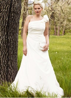 A-Line/Princess One-Shoulder Sweep Train Taffeta Wedding Dress With Ruffle