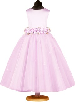 A-Line/Princess Scoop Neck Ankle-Length Satin Tulle Flower Girl Dress With Beading Flower(s) Bow(s)