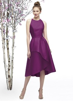 A-Line/Princess Scoop Neck Tea-Length Satin Bridesmaid Dress  ...
