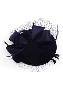 Classic/Stilfuld Netto garn/Fjer/Satin/Wool Fascinators