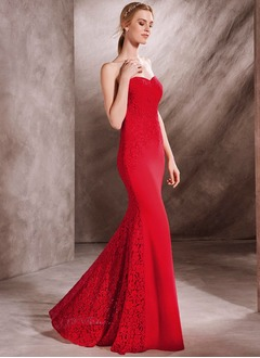 Trumpet/Mermaid Strapless Sweetheart Floor-Length Lace Jersey Evening Dress With Lace