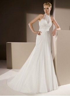 Trumpet/Mermaid High Neck Court Train Tulle Wedding Dress With Ruffle Lace Beading
