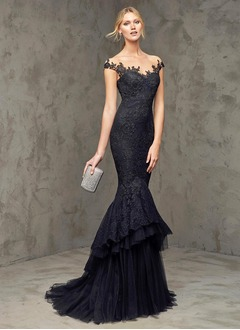 Trumpet/Mermaid Scoop Neck Sweep Train Tulle Lace Evening Dress With Appliques Lace