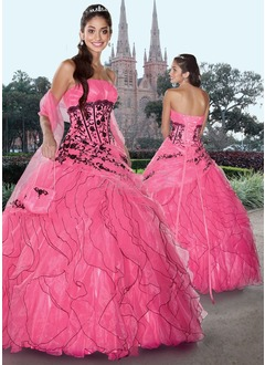 Ball-Gown Strapless Floor-Length Organza Satin Quinceanera Dress With Embroidered Lace