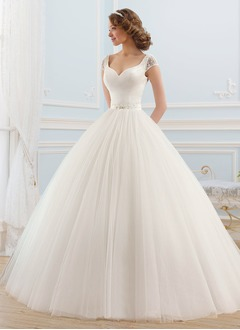 Ball-Gown V-neck Floor-Length Satin Tulle Wedding Dress With Beading