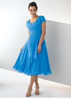 A-Line/Princess Square Neckline Tea-Length Chiffon Mother of the Bride Dress With Ruffle Beading