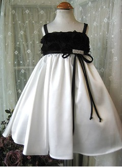 A-Line/Princess Strapless Floor-Length Satin Flower Girl Dress With Flower(s)