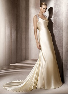 Sheath/Column Cowl Neck Court Train Charmeuse Wedding Dress With Lace