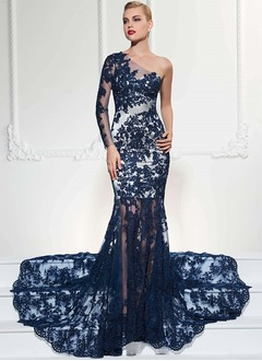 Trumpet/Mermaid One-Shoulder Court Train Lace Evening Dress With Lace Appliques Lace