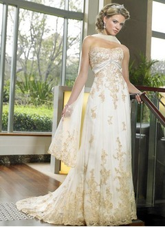 Empire Strapless Sweetheart Court Train Satin Tulle Wedding Dress With Lace Crystal Brooch