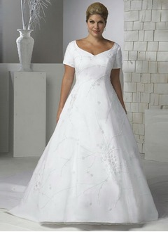 A-Line/Princess V-neck Cathedral Train Organza Satin Wedding Dress With Beading Appliques Lace