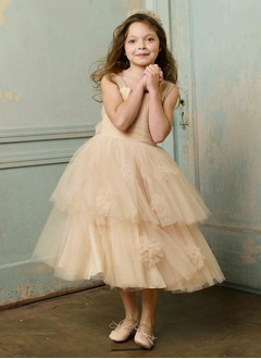 A-Line/Princess Square Neckline Tea-Length Satin Tulle Flower Girl Dress With Flower(s)
