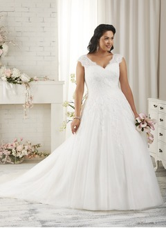 A-Line/Princess V-neck Court Train Tulle Wedding Dress With  ...