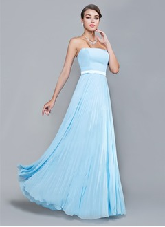 A-Line/Princess Strapless Floor-Length Chiffon Bridesmaid Dress With Pleated