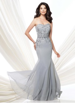 Trumpet/Mermaid Strapless Sweetheart Floor-Length Chiffon Mother of the Bride Dress With Beading