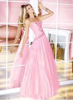 Ball-Gown Strapless Sweetheart Floor-Length Tulle Charmeuse Prom Dress With Beading