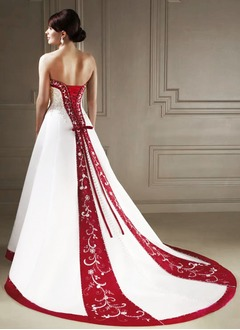 Ball-Gown Strapless Sweetheart Chapel Train Satin Wedding Dress With Embroidered Sash Beading Sequins