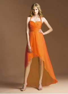 A-Line/Princess Halter Asymmetrical Chiffon Prom Dress With Ruffle Bow(s)