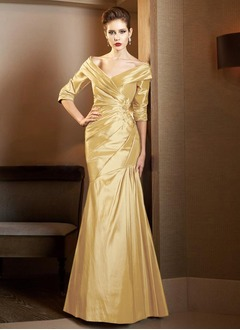 Trumpet/Mermaid Off-the-Shoulder Sweep Train Taffeta Mother of the Bride Dress With Ruffle Lace Beading