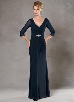 A-Line/Princess V-neck Floor-Length Chiffon Mother of the Bride Dress With Ruffle Crystal Brooch