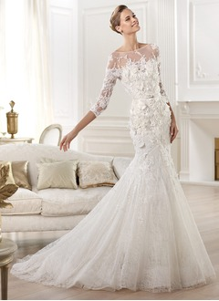 Trumpet/Mermaid Scoop Neck Chapel Train Tulle Lace Wedding Dress With Appliques Lace Flower(s)