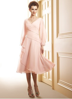 A-Line/Princess V-neck Tea-Length Chiffon Mother of the Bride Dress With Ruffle Beading Cascading Ruffles