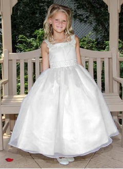 A-Line/Princess Strapless Ankle-Length Organza Satin Flower Girl Dress With Beading