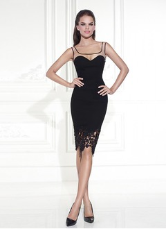 Sheath/Column Square Neckline Knee-Length Jersey Prom Dress With Appliques Lace