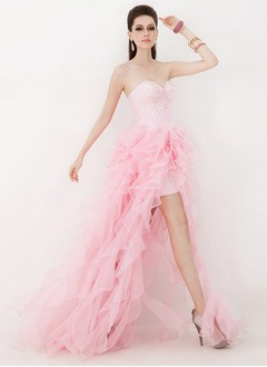 A-Line/Princess Strapless Sweetheart Asymmetrical Chiffon Satin Prom Dress With Beading Cascading Ruffles