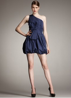 A-Line/Princess One-Shoulder Short/Mini Taffeta Cocktail Dress With Ruffle