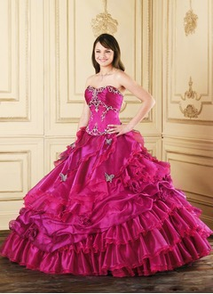Ball-Gown Strapless Sweetheart Floor-Length Organza Quinceanera Dress With Ruffle Beading