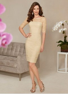 Sheath/Column Scoop Neck Knee-Length 30D Chiffon Mother of the Bride Dress With Lace Beading