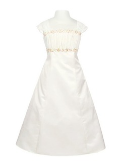 A-Line/Princess Strapless Floor-Length Satin Flower Girl Dress With Ruffle