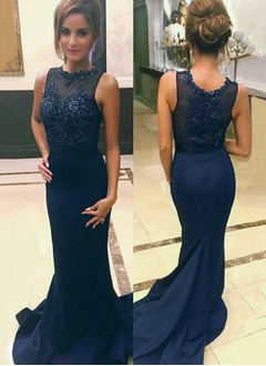 Trumpet/Mermaid Scoop Neck Sweep Train Satin Evening Dress With Beading Appliques Lace