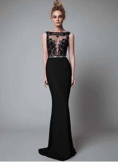 Trumpet/Mermaid Scoop Neck Sweep Train Charmeuse Evening Dress With Lace Appliques Lace