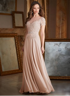 A-Line/Princess Scoop Neck Sweep Train Chiffon Mother of the Bride Dress With Beading Appliques Lace