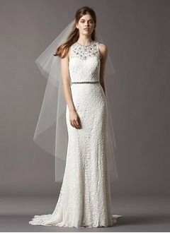 Sheath/Column Scoop Neck Sweep Train Lace Wedding Dress With Beading