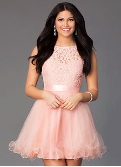 A-Line/Princess Scoop Neck Short/Mini Tulle Lace Homecoming Dress With Bow(s)