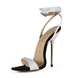 Sparkling Glitter Stiletto Heel Sandals Slingbacks With Buckle shoes (0875100488)