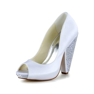 Women's Satin Chunky Heel Peep Toe Platform Pumps With Beading